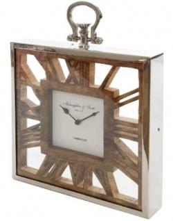 Casa Padrino Luxus Tischuhr / Wanduhr im Design einer antiken Taschenuhr Silber Naturfarben 30 x 5 x H. 40 cm - Dekorative Uhr mit einem Ziffernblatt aus unbehandeltem Holz - Vorschau 2