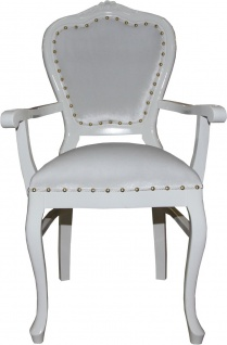 Casa Padrino Barock Luxus Damen Stuhl mit Armlehnen Weiss / Weiss - Damen Schminktisch Stuhl - Limited Edition