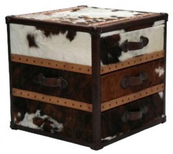 Casa Padrino Luxus Beistelltisch mit 3 Schubladen Braun / Weiß 63 x 60 x H. 67 cm - Handgefertigter Beistelltisch im Kofferlook