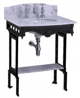 Casa Padrino Luxus Jugendstil Stand Waschtisch Weiß / Schwarz mit Marmorplatte mit Spritzschutz hinten und Ablage Barock Waschbecken Barockstil Antik Stil