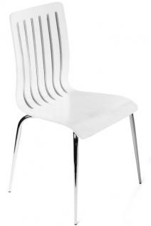 Designer Stuhl aus Holz und verchromtem Stahl, Weiß, Esszimmerstuhl, moderner Wohnzimmerstuhl