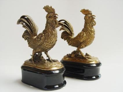 Casa Padrino Luxus Figuren Set Hahn aus Messing / Porzellan - Gold / Schwarz Hochglanz