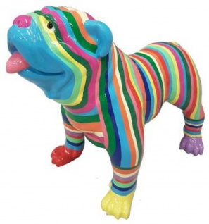 Casa Padrino Designer Dekofigur Hund Bulldogge Mehrfarbig Gestreift 90 x H. 74 cm - Wetterbeständige Deko Skulptur - Wohnzimmer Deko - Garten Deko - Designer Deko Tierfigur