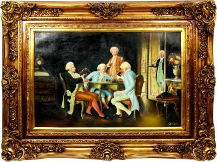 Casa Padrino Barock Stil Öl Gemälde Gesellschaft 2 Gold Prunk Rahmen 130 x H. 100 cm - Barockmöbel