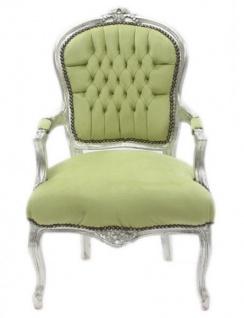 Casa Padrino Barock Salon Stuhl Jadegrün / Silber - Antik Design Möbel