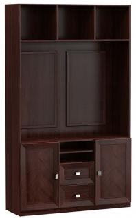 Casa Padrino Luxus Wohnzimmerschrank mit 2 Türen und 2 Schubladen Dunkelbraun / Silber 135, 8 x 44, 2 x H. 225, 6 cm - Luxus Wohnzimmermöbel - Vorschau