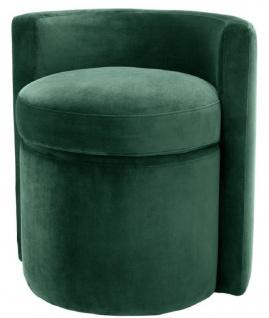 Casa Padrino Designer Sessel Dunkelgrün 61 x 57 x H. 64 cm - Runder Samt Sessel - Luxus Möbel - Vorschau 1