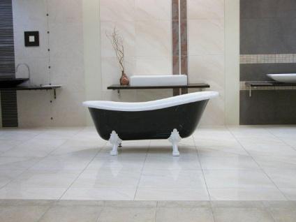 Freistehende Luxus Badewanne Jugendstil Roma Schwarz/Weiß/Weiß 1470mm - Barock Antik Badezimmer - Vorschau 5
