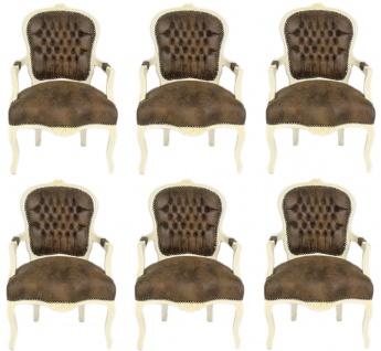 Casa Padrino Barock Salon Stuhl Set Braun / Creme 60 x 50 x H. 93 cm - 6 handgefertigte Salon Stühle mit Lederoptik - Barockmöbel