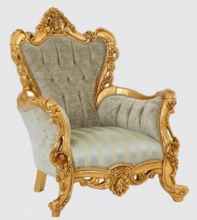 Casa Padrino Luxus Barock Sessel Grün / Gold 100 x 100 x H. 122 cm - Handgefertigter Wohnzimmer Sessel mit elegantem Muster - Barock Wohnzimmer Möbel - Edel & Prunkvoll