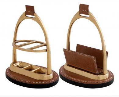 Casa Padrino Luxus Schreibtisch-Set: Briefständer und Kuliständer aus Braunem Echtleder Kugelschreiberständer - Kartenständer