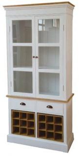 Casa Padrino Landhausstil Vitrinenschrank Antik Weiß / Naturfarben 88 x 38 x H. 195 cm - Landhausstil Kollektion