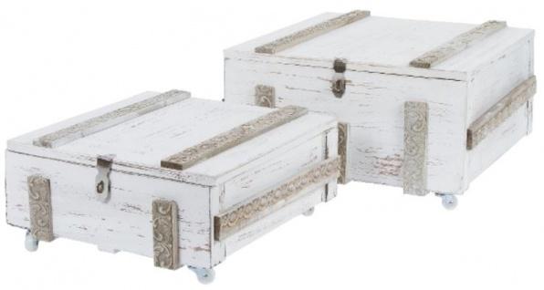 Casa Padrino Landhausstil Shabby Chic Holztruhen 2er Set Antik Weiß - Wohnzimmer Deko