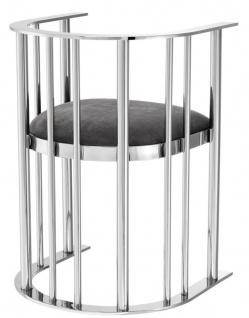 Casa Padrino Designer Stuhl mit Armlehnen Silber / Dunkelgrau 54, 5 x 53 x H. 68 cm - Designermöbel - Vorschau 3