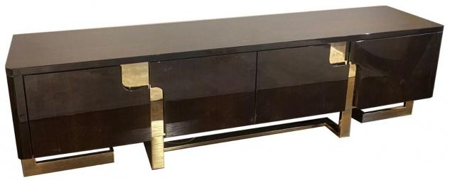Casa Padrino Luxus Art Deco TV Schrank Dunkelbraun / Gold 220 x 50 x H. 60 cm - Edler Fernsehschrank mit 4 Türen - Art Deco Wohnzimmer Möbel