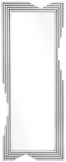Casa Padrino Designer Edelstahl Spiegel Silber 81 x 6 x H. 200 cm - Luxus Wohnzimmer Wandspiegel