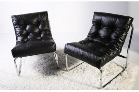 Designer Salon Stuhl Schwarz Lederoptik, sehr komfortabler Sitz, moderner Wohnzimmerstuhl - Vorschau 4