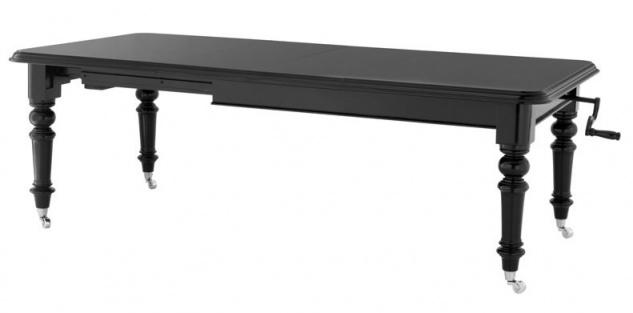 Englischer Antik Stil Esstisch Spindel Schwarz Klavierlack Ausziehbar 159 - 240 x 115 x H.78.5 cm aus dem Hause Casa Padrino
