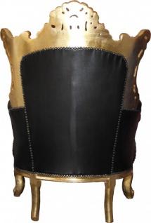 "Casa Padrino Barock Sessel "" Al Capone"" Schwarz Lederoptik/ Gold Mod2 - Antik Stil - Vorschau 2"