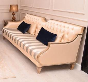 Casa Padrino Luxus Barock Sofa Beige / Silber / Gold - Handgefertigtes Wohnzimmer Sofa mit Streifen - Barock Wohnzimmer Möbel - Edel & Prunkvoll