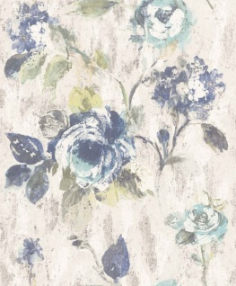Casa Padrino Barock Vliestapete Grau / Blau / Grün 10, 05 x 0, 53 m - Tapete mit Blumenmuster - Deko Accessoires