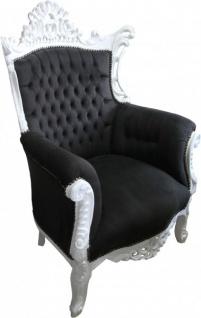 Casa Padrino Barock Wohnzimmer Sessel Al Capone Schwarz / Weiß 90 x 80 x H. 128 cm - Antik Stil Möbel