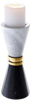 Casa Padrino Luxus Marmor Kerzenhalter Schwarz / Weiß / Gold Ø 11 x H. 28 cm - Hotel & Restaurant Deko Accessoires