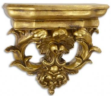 Casa Padrino Barock Kunstharz Wandkonsole Antik Gold 36, 3 x 17, 6 x H. 38, 1 cm - Wanddeko im Barockstil