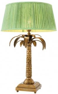 Casa Padrino Luxus Tischleuchte Vintage Messingfarben / Grün Ø 50 x H. 77 cm - Designer Tischlampe im Palmen Design