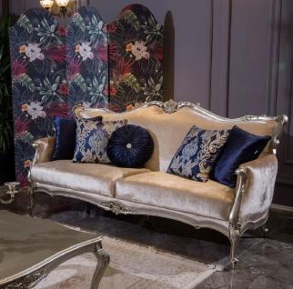 Casa Padrino Luxus Barock Wohnzimmer Sofa mit dekorativen Kissen Rosa / Silber 212 x 84 x H. 107 cm - Prunkvolle Barock Möbel