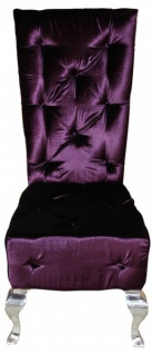 Casa Padrino Barock Esszimmer Stuhl Lila / Silber - Designer Stuhl - Luxus Qualität Hochlehner Hochlehnstuhl GH