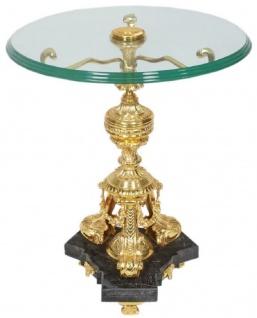 Casa Padrino Barock Beistelltisch Gold / Schwarz Ø 53 x H. 67 cm - Runder vergoldeter Bronze Tisch mit Glasplatte und Marmorsockel - Barock Wohnzimmer Möbel
