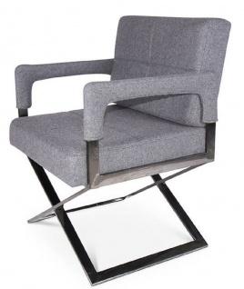 Casa Padrino Luxus Stuhl mit Armlehnen Grau / Silber 60 x 66 x H. 89 cm - Gepolsteter Bürostuhl - Büromöbel