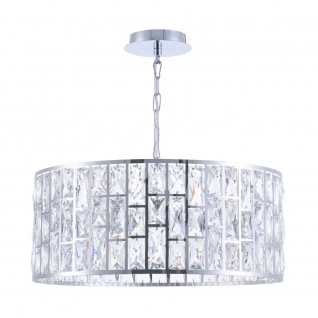 Casa Padrino Luxus Kronleuchter Silber Ø 50 x H. 21, 2 cm - Eleganter Kronleuchter mit Kristallglas