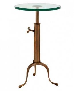 Casa Padrino Designer Luxus Industrial Design Beistelltisch Höhenverstellbar Messingfarben Höhe: 63 - 76 cm, Durchmesser 40 cm - Edelstahl Tisch - Telefontisch Antique Brass Finish - Luxus Qualität