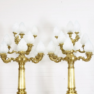 Casa Padrino Barock Stand Kronleuchter mit Marmor Säulen Set Mod2 Creme / Gold - Edel & Prunkvoll - Vorschau 2