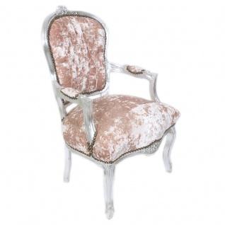 Casa Padrino Antik Stil Barock Salon Stuhl Rose Velour Stoff / Silber 60 x 50 x H. 93 cm - Barock Möbel