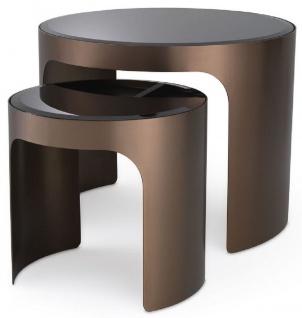 Casa Padrino Luxus Beistelltisch Set Kupferfarben / Schwarz - 2 runde Edelstahl Tische mit abgeschrägten Glasplatten - Luxus Wohnzimmer Möbel