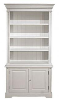 Casa Padrino Landhausstil Bücherschrank Weiß 118 x 53 x H. 223 cm - Wohnzimmerschrank mit 2 Türen - Möbel im Landhausstil