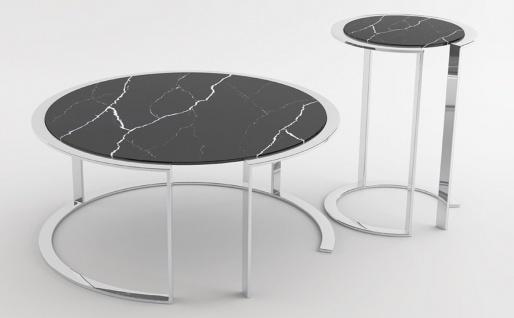 Casa Padrino Luxus Wohnzimmer Set Silber / Schwarz - 1 Couchtisch mit Marmorplatte & 1 Beistelltisch mit Marmorplatte - Wohnzimmermöbel - Luxus Qualität