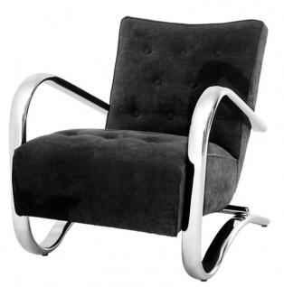 Casa Padrino Luxus Sessel Schwarz 64 x 82 x H. 75 cm - Designer Möbel - Vorschau 2