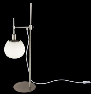 Casa Padrino Tischleuchte Silber / Weiß 17 x H. 65 cm - Höhenverstellbare Tischlampe mit rundem Mattglas Lampenschirm - Vorschau 2