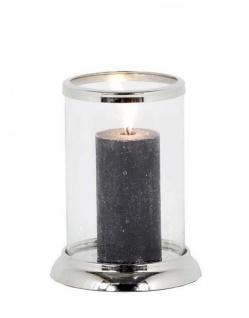 Casa Padrino Designer Edelstahl Kerzenleuchter Durchmesser 13 x H. 22 cm - Nickel Finish