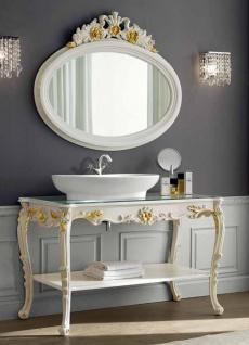 Casa Padrino Luxus Barock Badezimmer Set Elfenbeinfarben / Gold - 1 Waschtisch & 1 Wandspiegel - Badezimmer Möbel im Barockstil - Edel & Prunkvoll