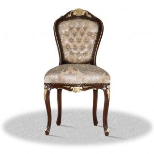 Casa Padrino Barock Esszimmerstuhl Braun Gold Silber - Antik Stil Möbel