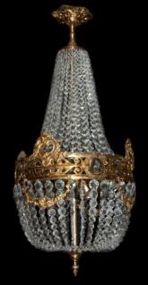 Casa Padrino Barock Hängeleuchte Glas Kristall / Gold - Höhe 90 cm, Durchmesser 40 cm - Decken Leuchte Antik Stil