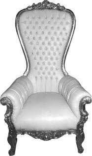 Casa Padrino Barock Thron Sessel Majestic Weiß / Silber mit Bling Bling Glitzersteinen - Riesensessel - Thron Stuhl Tron