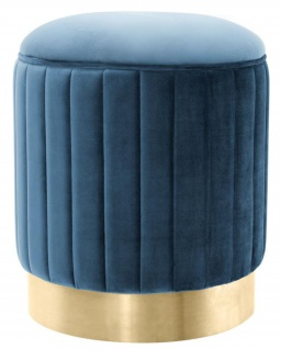 Casa Padrino Hocker Blau / Messing Ø 40 x H. 45 cm - Luxus Sitzhocker