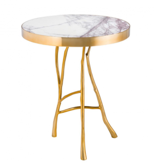 Casa Padrino Luxus Art Deco Designer Beistelltisch Gold mit weißem Marmor 50 x H 58 cm - Luxus Hotel Tisch