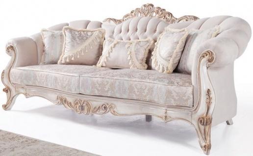 Casa Padrino Luxus Barock Wohnzimmer Sofa mit Kissen Hellgrau / Weiß / Antik Bronze 243 x 89 x H. 106 cm - Barock Möbel
